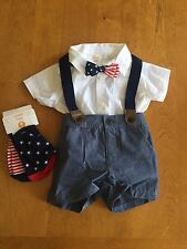 Gymboree Baby Boy 3-6m Short Set Bow tie Suspenders Outfit Lot Of 4 Pieces