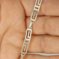 Sterling silver 925 solid jewellery bracelet 7 inches chain aztec style S101