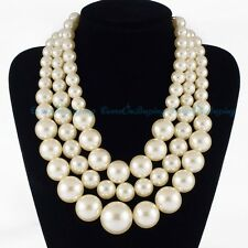 Fashion Gold Chain Layered White Pearl Beads Bunch Cluster Choker Necklace