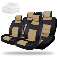 Semi-Custom Syn Leather with Mesh Car Seat Covers Black Tan Set For VW