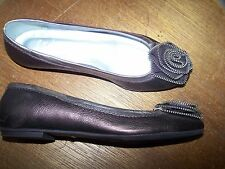 FSNY PEWTER/SILVER METALLIC LEATHER BALLERINA FLATS LOAFER SHOES. SZ 38. US 7.5.