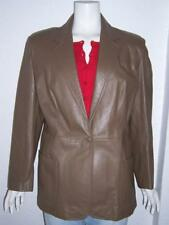 WOMEN'S PERUZZI BROWN LEATHER ONE BUTTON JACKET FLORENCE ITALY BEAUTIFUL