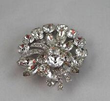 Eisenberg Ice Rhinstone Pin Brooch Costume Jewelry Vintage Silver Tone Metal