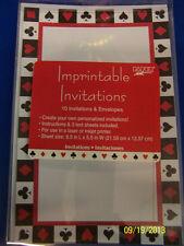 Card Night Casino Wonderland Prom Theme Party Printable Invitations w/Envelopes
