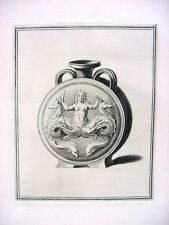Antique 18th Century French Engraving Ancient Greek Goddess Mermaid Dolphin Jar