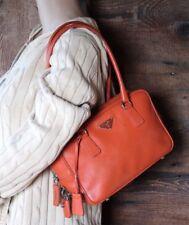 b193817d0126 $1598~PRADA~Orange Tangerine Saffiano Leather Doctor Purse Bag Satchel Lock  Key