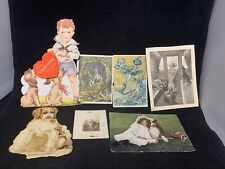 Dog Collectible Valentine Post Card Photo Advertising 1900s Ephemera Paper LOT 7