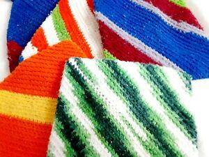 Handmade Crocheted  Pot Holders Wash Cloths Rags Lot of 5 Assorted Crochet
