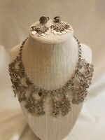 Vintage Silvertone Heart Drop Statement Set Necklace Clipon Earrings Dangle Bold