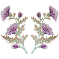 Pair of Purple Pink Thistle Flower Patches Iron Sew On Flowers Patch Badge Motif