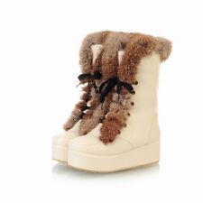 Womens Ankle Boots Shoes Fur Trim Platform Winter сапоги Lace Up Plus Sz Creeper