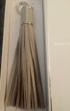 """Michael Kors """"CEMENT"""" Gray Large Tassels Leather Key Fob Charms NWT IN BOX"""