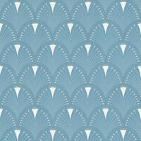 MODERN ART ART DECO FAN WALLPAPER BLUE / WHITE RASCH 433234 - FEATURE WALL NEW