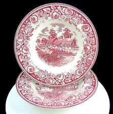 "BRITISH ANCHOR 2 PC PINK STRATFORD SCENES SHAKESPEARE COUNTRY 9"" ROUND BOWLS"