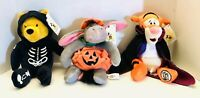 Vtg Disney World Lot Of 3 Pooh Tigger Eeyore Halloween Bean Bag Plush NWT!