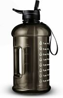 73OZ/0.6 Gallon Motivational Large Water Bottle with Straw & Time Marker (Black)