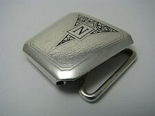 "HICKOK SILVER PLATED BELT BUCKLE BRONZE BELT LATCH by Hickok ca1920s Initial ""N"""