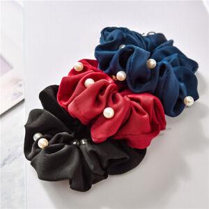Women Faux Pearl Scrunchie Soft Elastic Bands Bronzing Edge Ties Holder Headwear