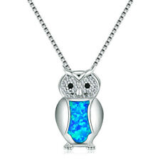 Fashion Silver Blue Imitation Opal Owl Charm Pendant Necklace Wedding Jewelry