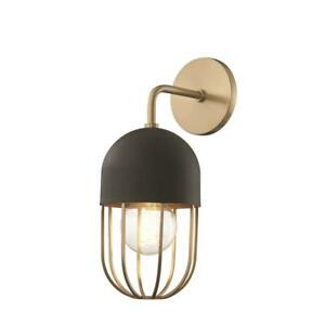 Mitzi by Hudson Valley Lighting Haley 1-Light Aged Brass Wall Sconce with Black