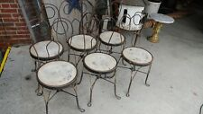 6 Antique Iron Metal Ice Cream Parlor Salon Game Table Side Chairs - So Nice!