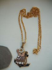 More details for beatrix potter mouse gold plated pendant necklace 1993 signed fish very rare