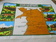 Vintage Souvenir Teatowel 'Great Little Trains of Wales - Linen, brand new unuse