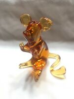 Mid Century Vtg Amber Brown Pilgrim Art Blown Glass MCM Mouse Figure Figurine