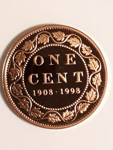 1998 Anniversary 1908-1998 Canada Silver Penny RARE large cent
