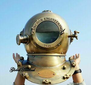 "Anchor Antique Heavy Diving helmet ~Mark V Vintage Morse Divers Scuba Helmet 18"""