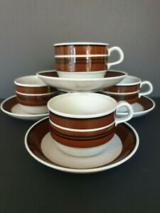 SET OF 4 RORSTRAND SWEDISH ISOLDE TEA CUPS + SAUCERS designed by JACKIE LYND