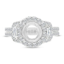 Three Stone Round Diamond Engagement Semi-mount Ring in 18k White Gold