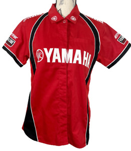 Yamaha Racing Pit Shirt Red Ladies Large Embroidered Double Sided Embroidered