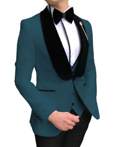 Mens Suit 3Piece Prom Tuxedos Shawl Lapel Solid Wedding Grooms Blazer+Vest+Pants