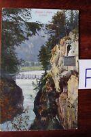 Postkarte Ansichtskarte Bayern Lithografie Füssen Allgäu Flachfalle