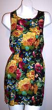Cotton Candy Dress M Black Floral T-Back Exposed Zipper Sundress