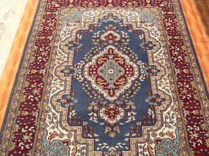Oriental Rug 4'x6' Traditional Design Rug Home Decor Rug Blue Color Wool Carpet