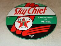 "VINTAGE 1954 TEXACO SKY CHIEF SUPER! 11 3/4"" PORCELAIN METAL GASOLINE & OIL SIGN"