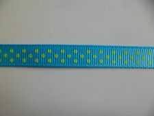 2 mtrs of Polka Dot  Ribbon 10mm wide Turquoise and green satin crafts xmas
