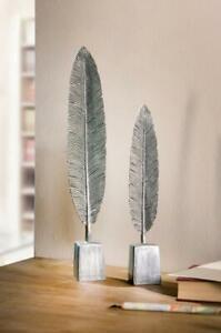 Deko Feder Silber 2x Tisch Skulptur Kunstobjekt Figur Statue Wohndeko Antik  Set