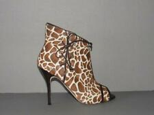 AUTHENTIC MANOLO BLAHNIK NEW 39.5 ANIMAL PRINT PONY FUR ANKLE BOOTS BOOTIES