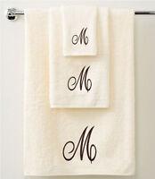 Personalised 3 Piece Towel Gift Set Bath - Hand & Guest Towel in Brown Script