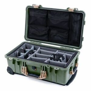 OD Green & Tan Pelican 1510 case with grey dividers & mesh lid organizer.
