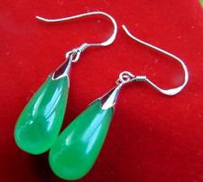 New A Pair Teardrop Green Jade 925  Silver Dangle Hook Earrings