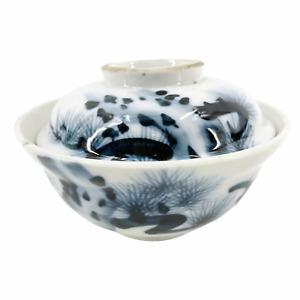 Antique Meiji Period Japanese Porcelain Lidded Rice Soup Bowl Cobalt Blue White