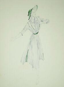 Vintage Art Deco Mode Zeichnung Kleid 1950 Lucienne Ingeborg Lehmann Dekorativ
