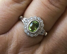 R290 Genuine 9K White Gold Natural Peridot & Pearl Cluster Ring milligrain sz N