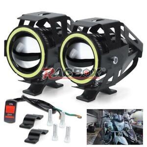 2pcs Mini Motorcycle U7 Headlight LED Motorbike Driving Fog Spot Lights + Switch