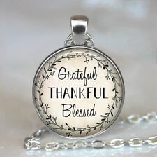 Grateful, Thankful, Blessed Photo Tibet Silver Cabochon Glass Pendant Necklace