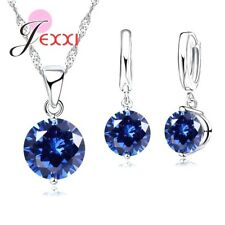925 Sterling Silver Blue Crystal Necklace and Earring Set & Velvet Pouch UK